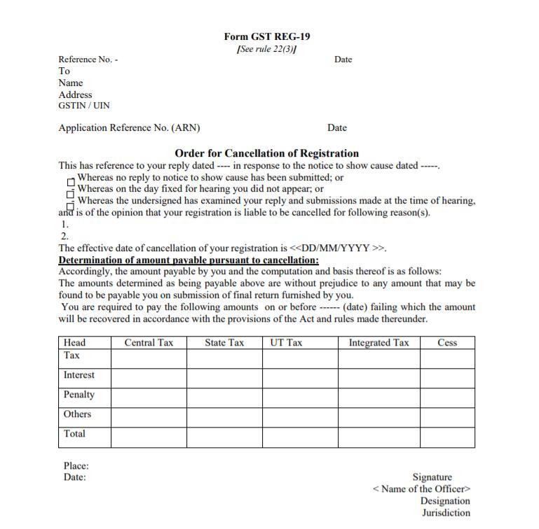 Form GST Reg-19